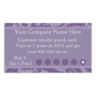 Tarjeta de sacador promocional del descuento púrpu tarjeta de visita