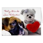 Tarjeta de San Valentin con cachorros boxer Greeting Cards
