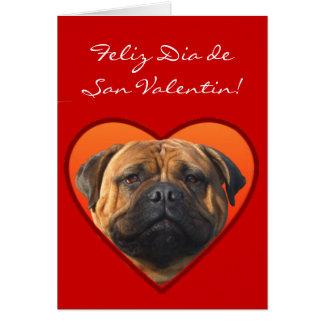 Tarjeta De San Valentin Con Perro Bullmastiff Card