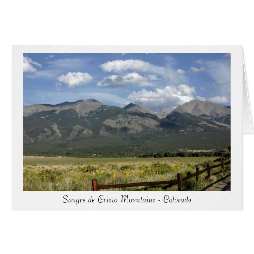 Tarjeta de Sangre de Cristo Mountains