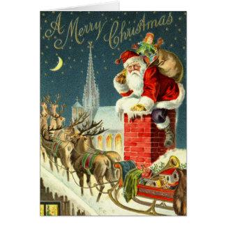 Tarjeta de Santa del navidad del vintage