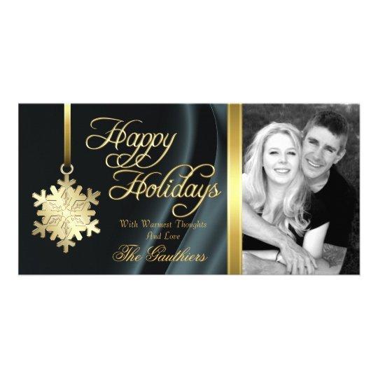 Tarjeta de seda negra de la foto del día de fiesta tarjeta fotografica personalizada