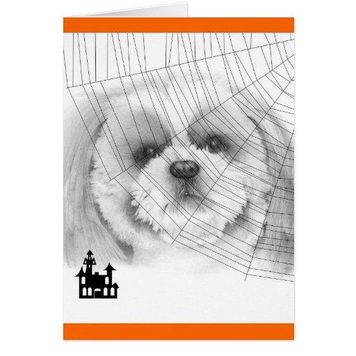 Tarjeta de Shih Tzu Halloween