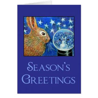 Tarjeta de Snowglobe del conejo del navidad