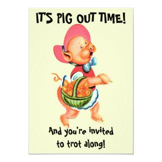 "Tarjeta de Srta. Piggy Barbecue Party Invitation Invitación 5"" X 7"""