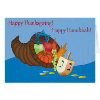 Tarjeta de Thanksgivukkah (acción de gracias y Ján