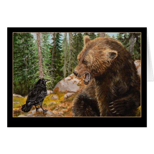 Tarjeta de tomadura de pelo de la fauna del oso gr