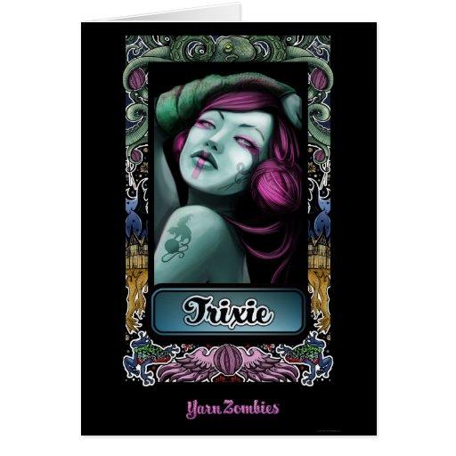 """Tarjeta de """"Trixie"""" de los zombis del hilado"""