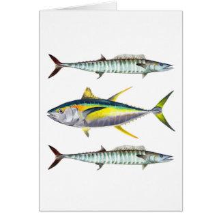 Tarjeta de trucha salmonada de un pescado del atún