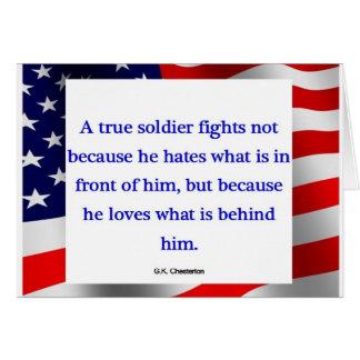 """Tarjeta """"de un soldado verdadero"""""""