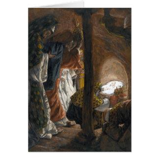 """Tarjeta de unos de los reyes magos de Tissot """"la a"""