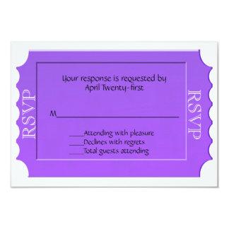 """Tarjeta de uso múltiple púrpura de la respuesta de invitación 3.5"""" x 5"""""""