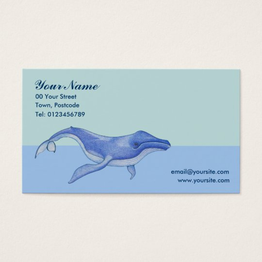 Tarjeta de visita a solas de la ballena