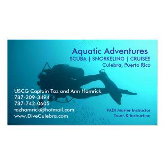 Tarjeta de visita acuática de las aventuras
