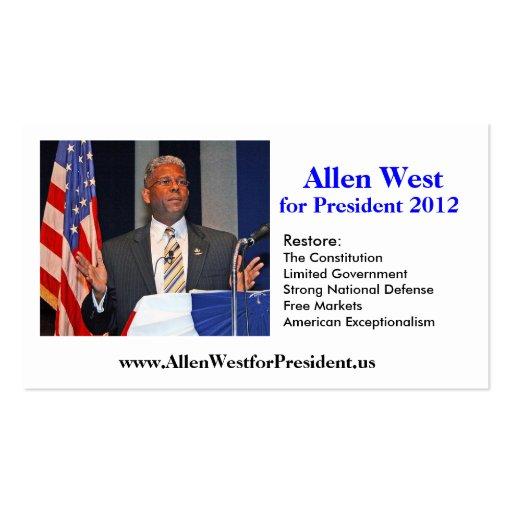 Tarjeta de visita, Allen del oeste para el preside