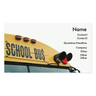 Tarjeta de visita amarilla del autobús escolar