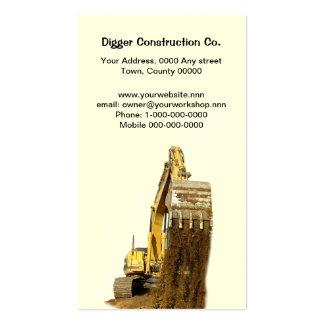 Tarjeta de visita amarilla del excavador