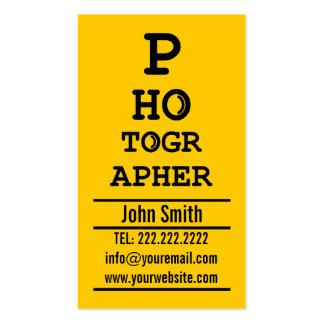 Tarjeta de visita amarilla del fotógrafo del optom