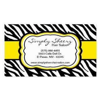 Tarjeta de visita amarilla del salón de pelo del e
