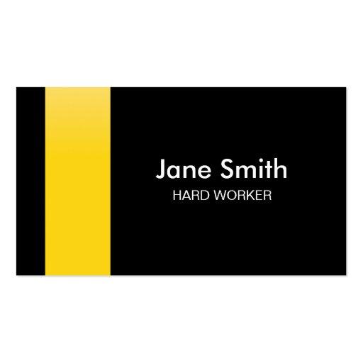 Tarjeta de visita amarilla y negra profesional