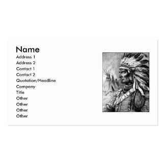 Tarjeta de visita americana del jefe indio