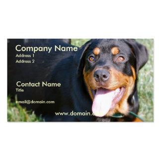 Tarjeta de visita amistosa del perro de Rottweiler