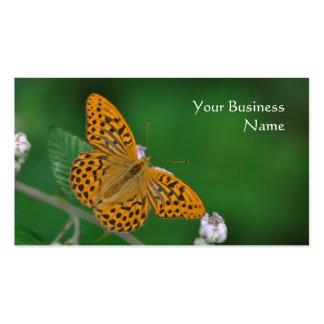 Tarjeta de visita anaranjada de la mariposa