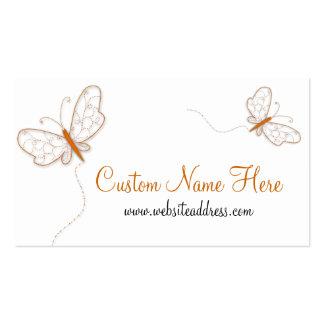 Tarjeta de visita anaranjada de las mariposas de W