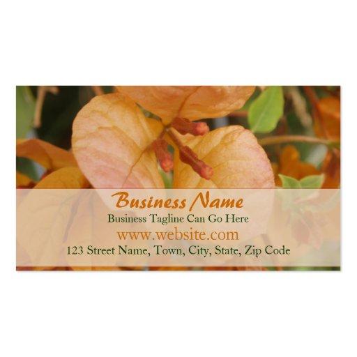 Tarjeta de visita anaranjada del Bougainvillea