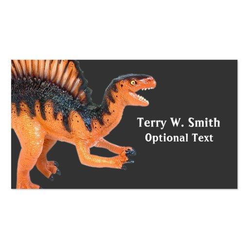 Tarjeta de visita anaranjada del dinosaurio