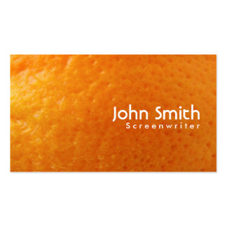 Tarjeta de visita anaranjada fresca del guionista