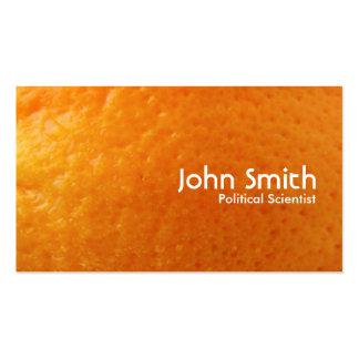 Tarjeta de visita anaranjada fresca del politólogo