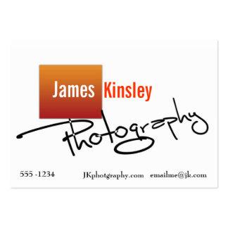 Tarjeta de visita anaranjada y blanca del fotógraf