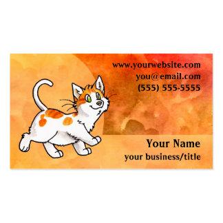 Tarjeta de visita anaranjada y blanca del gato - n