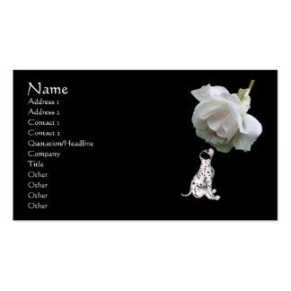 Tarjeta de visita animal dálmata del rosa blanco d