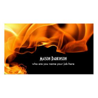 tarjeta de visita ardiente del fuego
