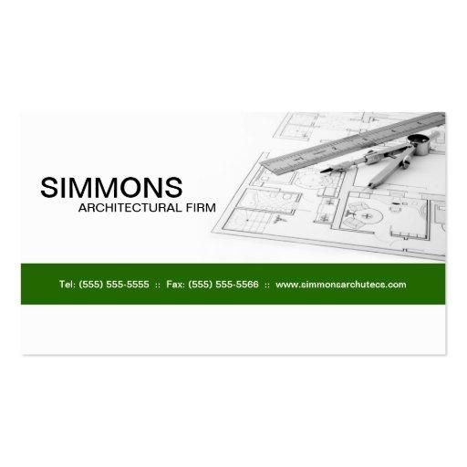 Tarjeta de visita arquitectónica verde del proyect