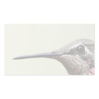 tarjeta de visita ascendente cercana del colibrí