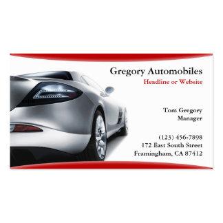 Tarjeta de visita auto de los coches