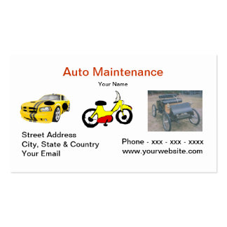 Tarjeta de visita auto del mantenimiento