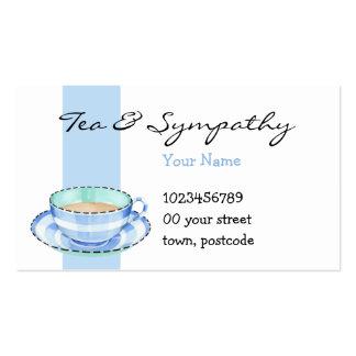 Tarjeta de visita azul blanca de la taza de té bla