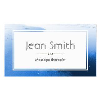 Tarjeta de visita azul con clase del terapeuta del