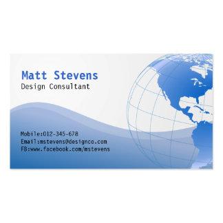 Tarjeta de visita azul de Américas del globo del