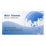 Tarjeta de visita azul de Asia Australia del globo