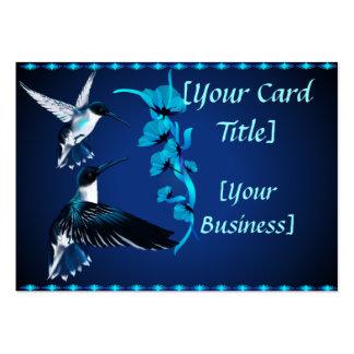 Tarjeta de visita azul de dos colibríes