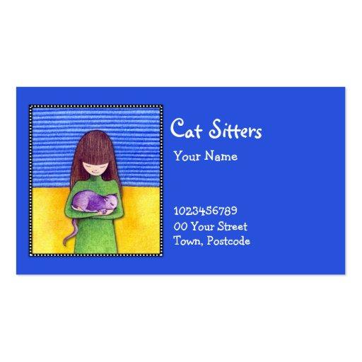 Tarjeta de visita azul de la abrazo del gato