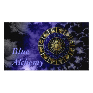 Tarjeta de visita azul de la astrología de la alqu