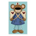 Tarjeta de visita azul de la enfermera del oso