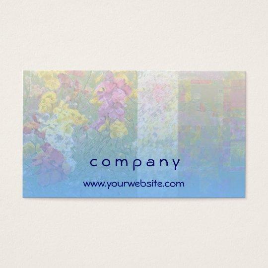 Tarjeta de visita azul de la mezcla floral