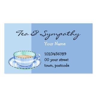 Tarjeta de visita azul de la taza de té blanca azu